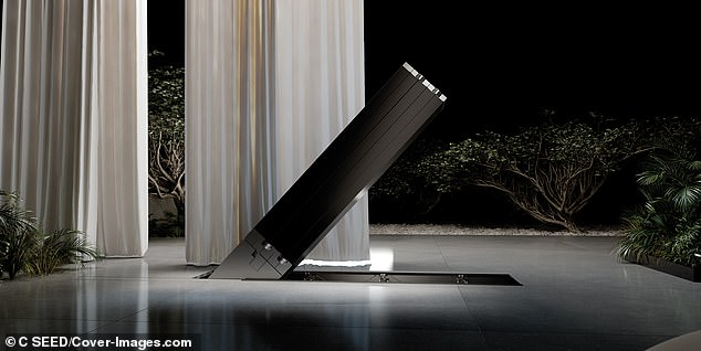 Visitors may be surprised when they see a black column slowly and silently rising from the floor
