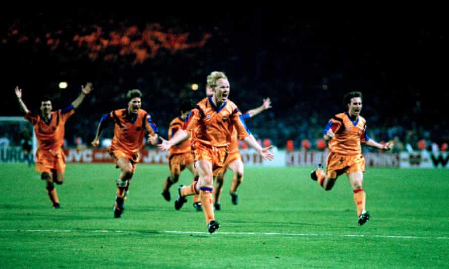Ronald Koeman celebrates after scoring the winning goal in the European Cup final in 1992.