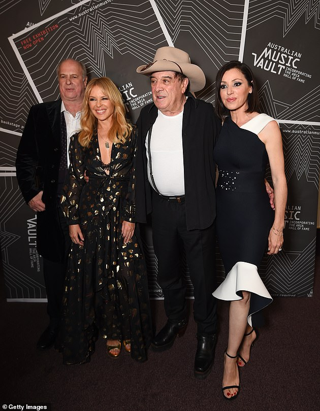 Gudinski (left) is pictured with Kylie Minogue (second from left), Molly Meldrum (second from right) and Tina Arena (right) at the VIP Launch of the Australian Music Vault at the Arts Centre Melbourne on December 18, 2017