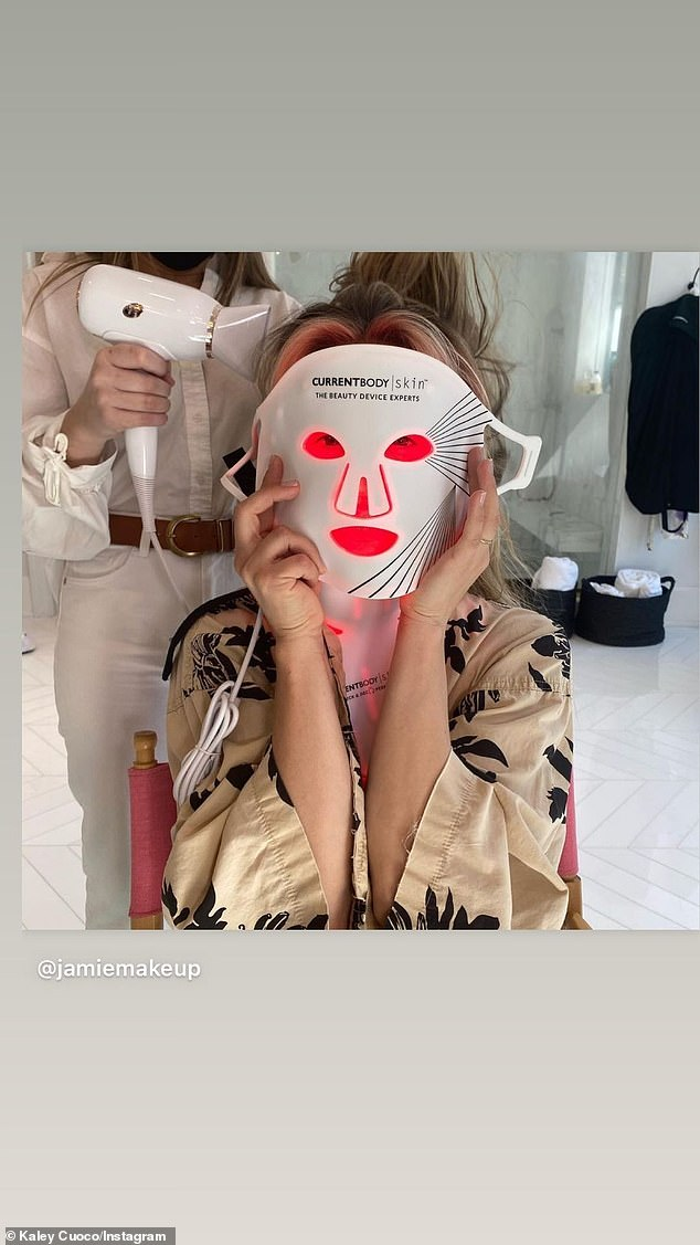 Masked up:Kaley Cuoco shared her beauty routine before hitting the carpet. The Flight Attendant star had on a CurrentBody Skin face mask