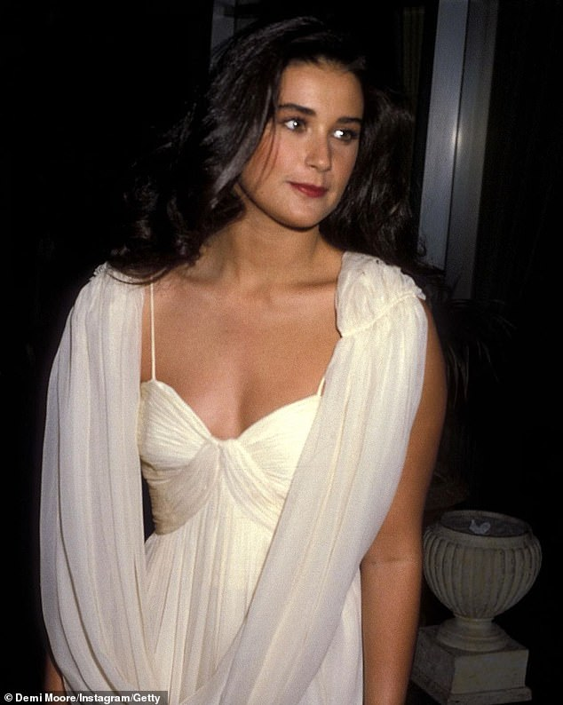 Beauty:Demi Moore looked incredible in a white dress: 'Bringing it back to 1984. Happy Golden Globes night!'