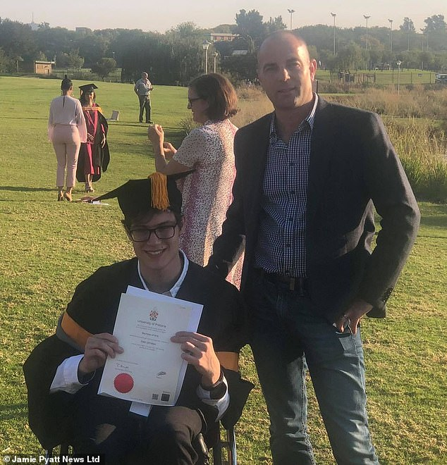 Scottish banker Rod Johnston, 46, who died in South Africa and his wheelchair bound son Dean, 24, proudly holding his BA certificate