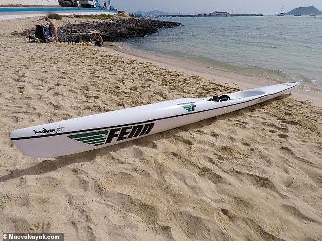 A surf-ski similar to, but not the same, as the one Scottish paddler Rod Johnston, 46, was paddling on when he lost his life off the coast of Cape Town