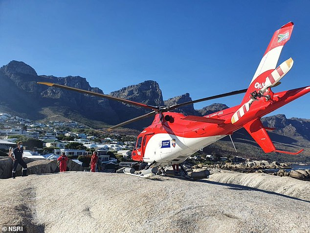 The EMS/AMS Skymed helicopter that was launched to search for missing Scottish surfskier Rod Johnston, 46, and dropped a diver five miles out from the coast of Cape Town into the sea to recover his body