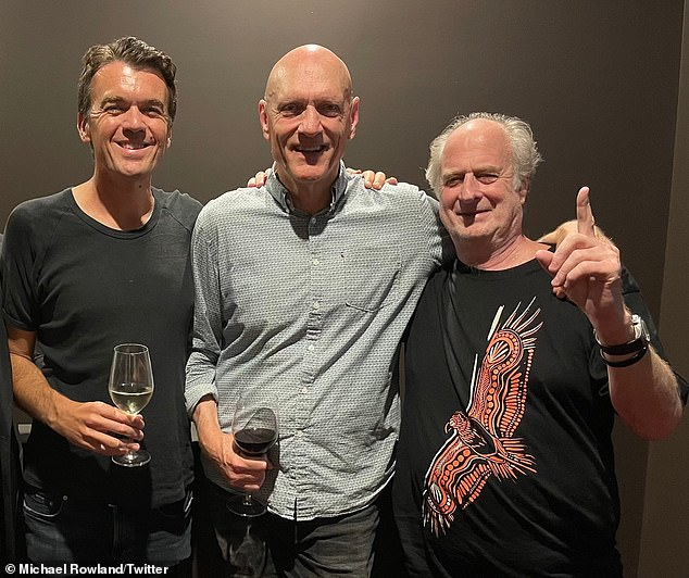 Gudinski was pictured last Thursday at a Midnight Oil concert, where he was acting like his 'typical boisterous, funny self'. Pictured with Midnight Oil frontmanPeter Garrett (centre) andABC News Breakfast presenter Michael Rowland (left)