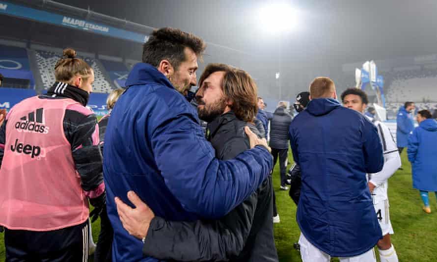 Andrea Pirlo and Gianluigi Buffon celebrate winning the Italian Super Cup last year