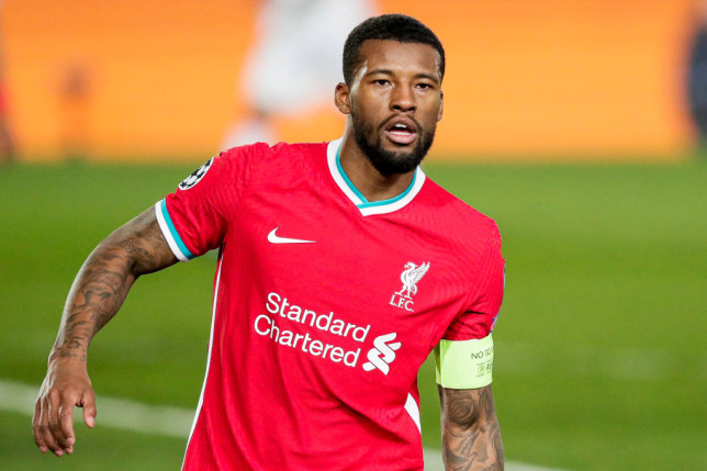 Georginio Wijnaldum of Liverpool FC during the UEFA Champions League  match between Real Madrid v Liverpool at the Estadio Alfredo Di Stefano on April 6, 2021 in Madrid Spain