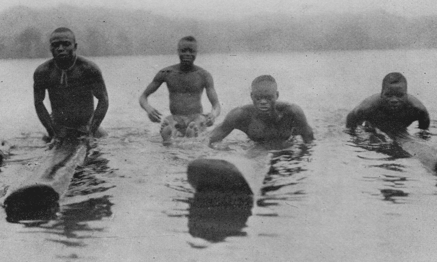 Surfers with padua planks in present-day Ghana in 1923.