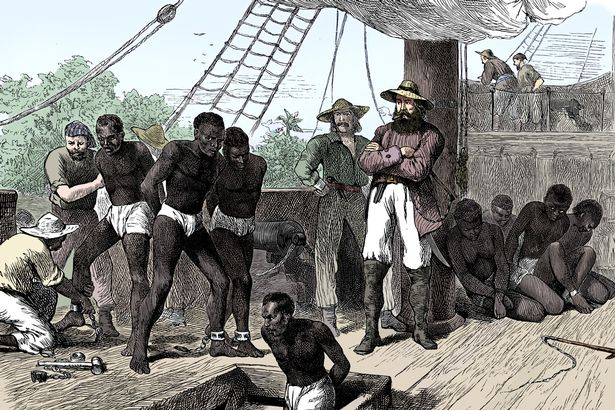 Captives being brought on board a slave ship on the West Coast of Africa