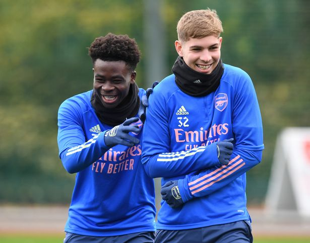 Attacking midfielders Saka and Smith Rowe have returned to full training