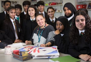 Zafirakou with some of her students at Alperton.
