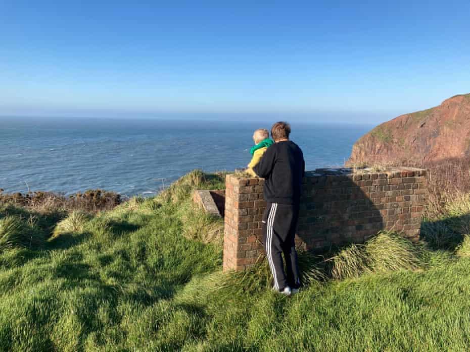 Oscar Rickett and his son at Hartland Point in north-west Devon.