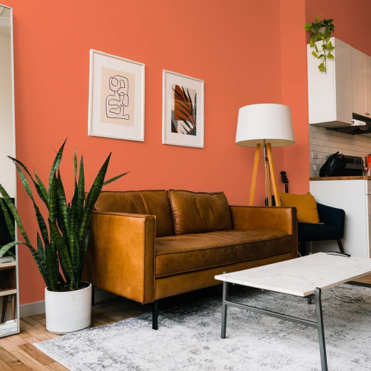 a living room with a bright orange wall