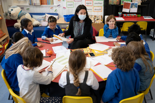 A teacher holds a creative writing class at Roath Park Primary School on February 23, 2021 in Cardiff, Wales.