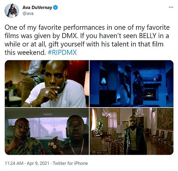 Acting talents: FilmmakerAva DuVernay urged her followers to watch DMX's performance in the Hype Williams movie Belly (1998)