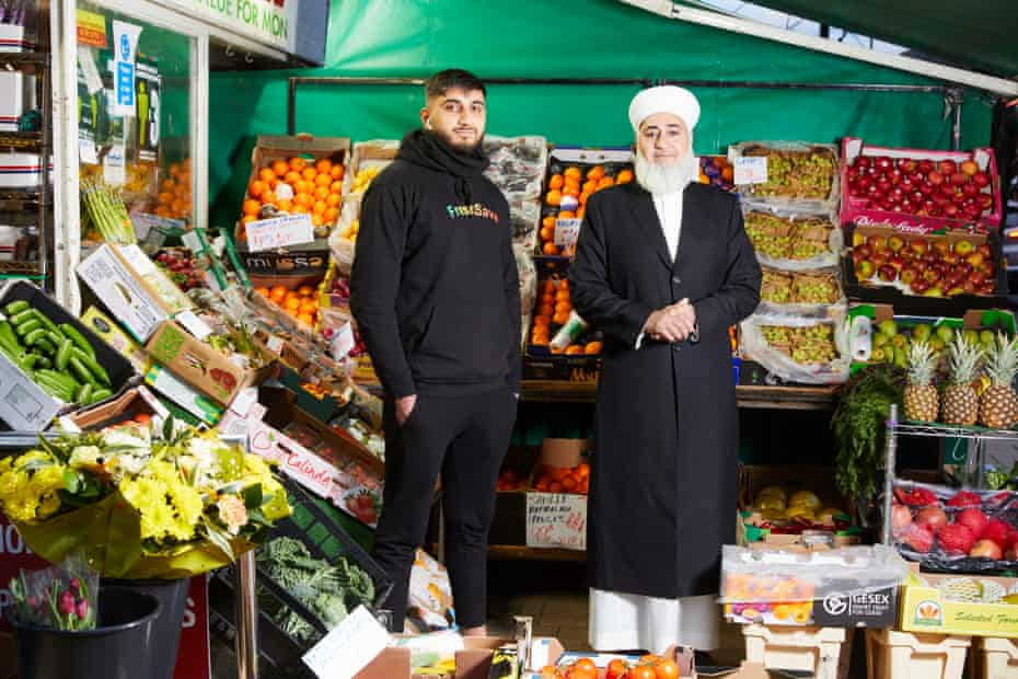 Mohammed Shafiq and his son Hammaad at Freshsave greengrocery in Didsbury.