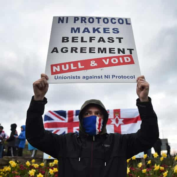 Loyalists protest against the Northern Ireland protocol in the Brexit agreement in Larne, County Antrim.