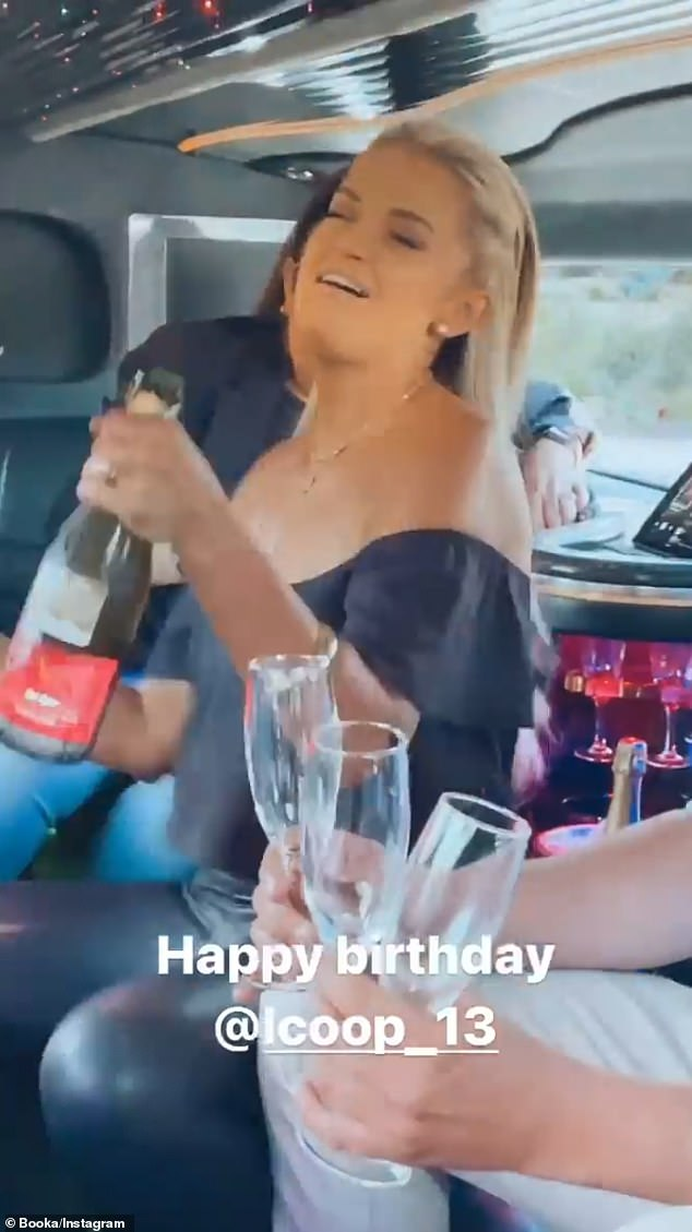 Enjoying the celebrations: In footage shared to Booka Nile's Instagram Stories, Samantha Harvey (pictured), 31, let her hair down as she popped open a bottle of Champagne and showed off her best dance moves