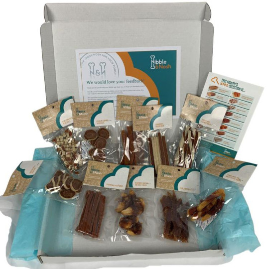 Nibble & Nosh?s gourmet dog treat boxes is a month of fancy snacks for good dogs. ?19.95, nibbleandnosh.co.uk