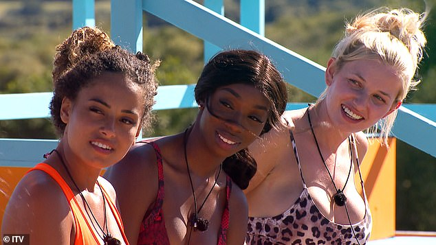 New turn: TV executives could potentially include homosexual singletons on the show for the first time (Amber Gill, Yewanda Biala and Amy Hart pictured in 2019)