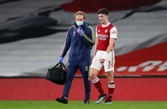 Kieran Tierney was forced off with a knee injury in Arsenal's defeat to Liverpool