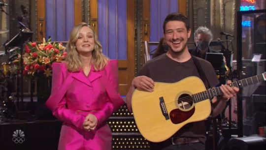 Carey Mulligan and her husband Marcus Mumford during her monoilogue on Saturday Night Live, broadcast on April 10, 2021. The show is hosted by Carey Mulligan and the musical guest is Kid Cudi.