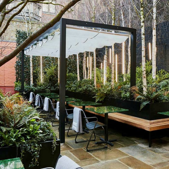 The outdoor space at Native at Browns, the famed Mayfair fashion boutique's new restaurant