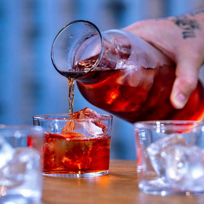 Negroni Sbagliato by the carafe awaits you on the terrace at Tayēr + Elementary