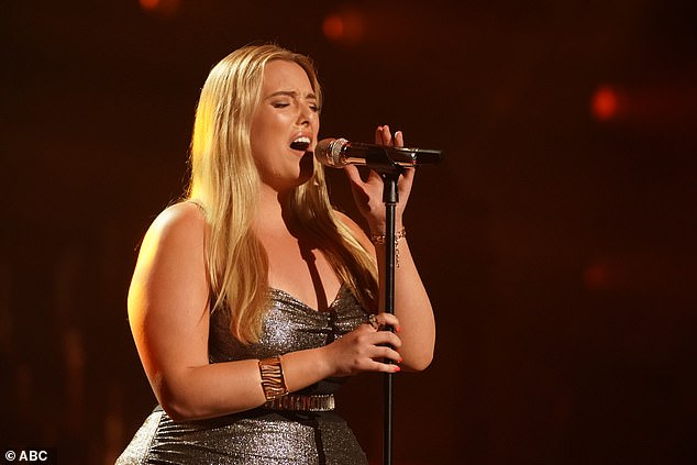 Amazing voice: Grace Kinstler, 20, a college student from Lakewood, Illinois, after earning her spot delivered a soulful take on Sia's Elastic Heart, which had the whole room applauding