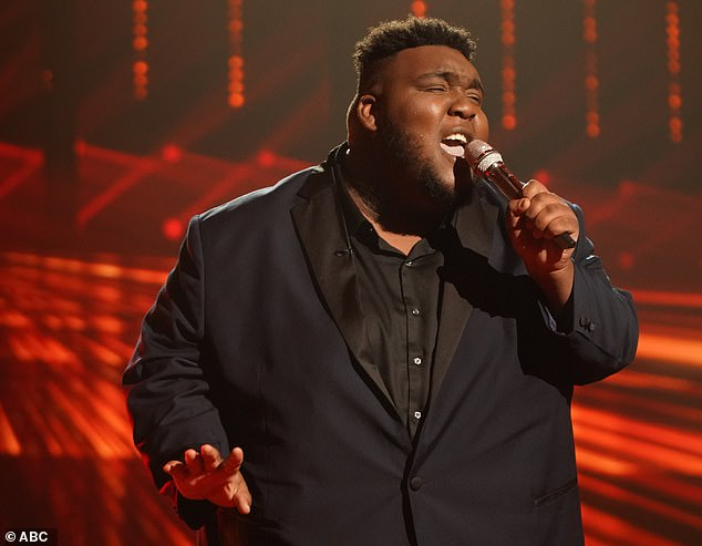 On fire:Willie Spence, 21, a caretaker from Douglas, Georgia, chose Adele's Set Fire To The Rain and went soft in its loudest places, scoring another standing ovation