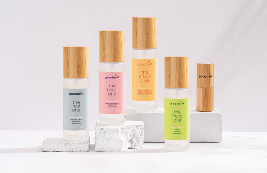 Goodmist hand sanitiser colection l-r the fresh one, the floral one, the citrus one, the fruity one