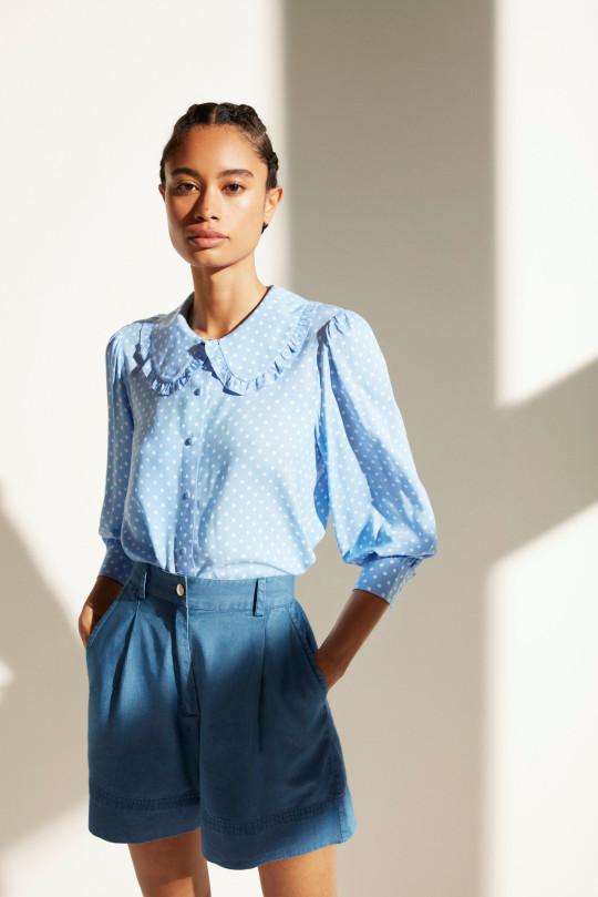 Pola dot frill collar blouse