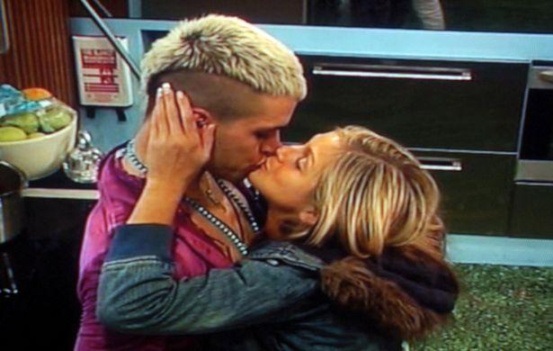 Pete Bennett kissing Nikki Grahame