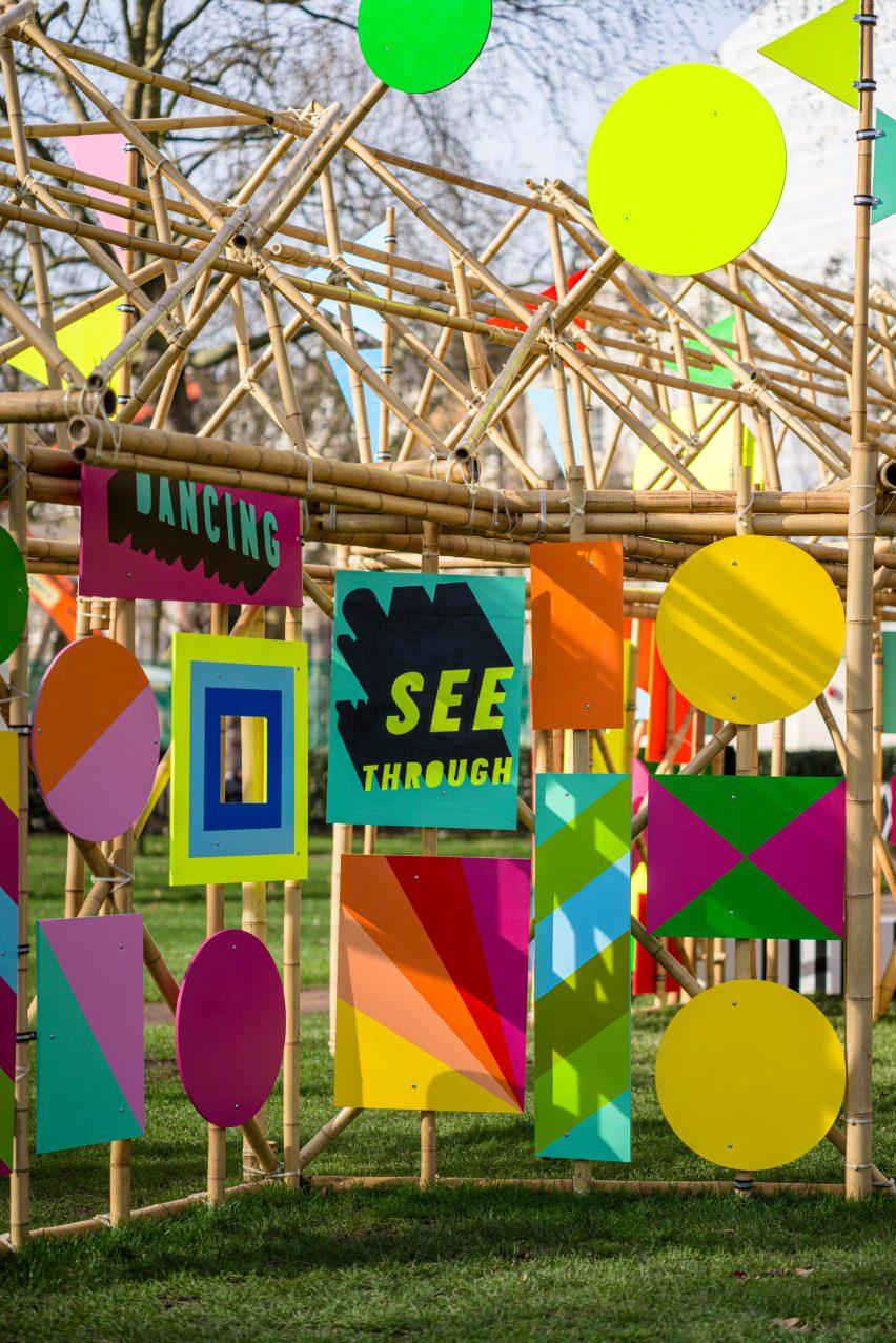A skeletal bamboo pavilion