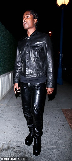 Back to black: The New York native, real name Rakim Mayers, donned a black leather jacket, which he teamed with matching trousers and a pair of chunky boots
