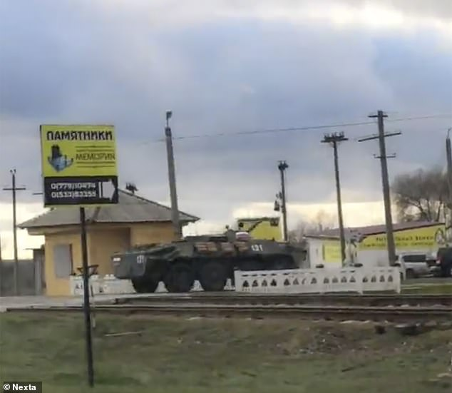 A Russian 'peacekeeping' vehicle is seen on the move inTransnistria, in Moldova, along Ukraine's western flank