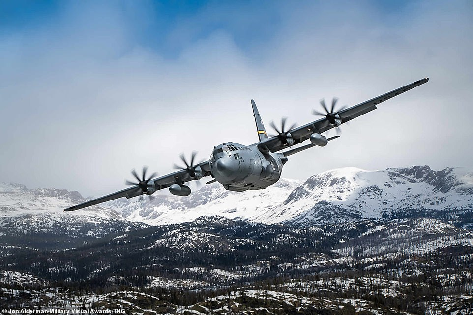 A C-130 Hercules from the 153d Airlift Wing, Wyoming Air National Guard, flies over Cheyenne, Wyoming, in a show of appreciation for the essential personnel on the front lines of COVID-19 on May 15, 2020
