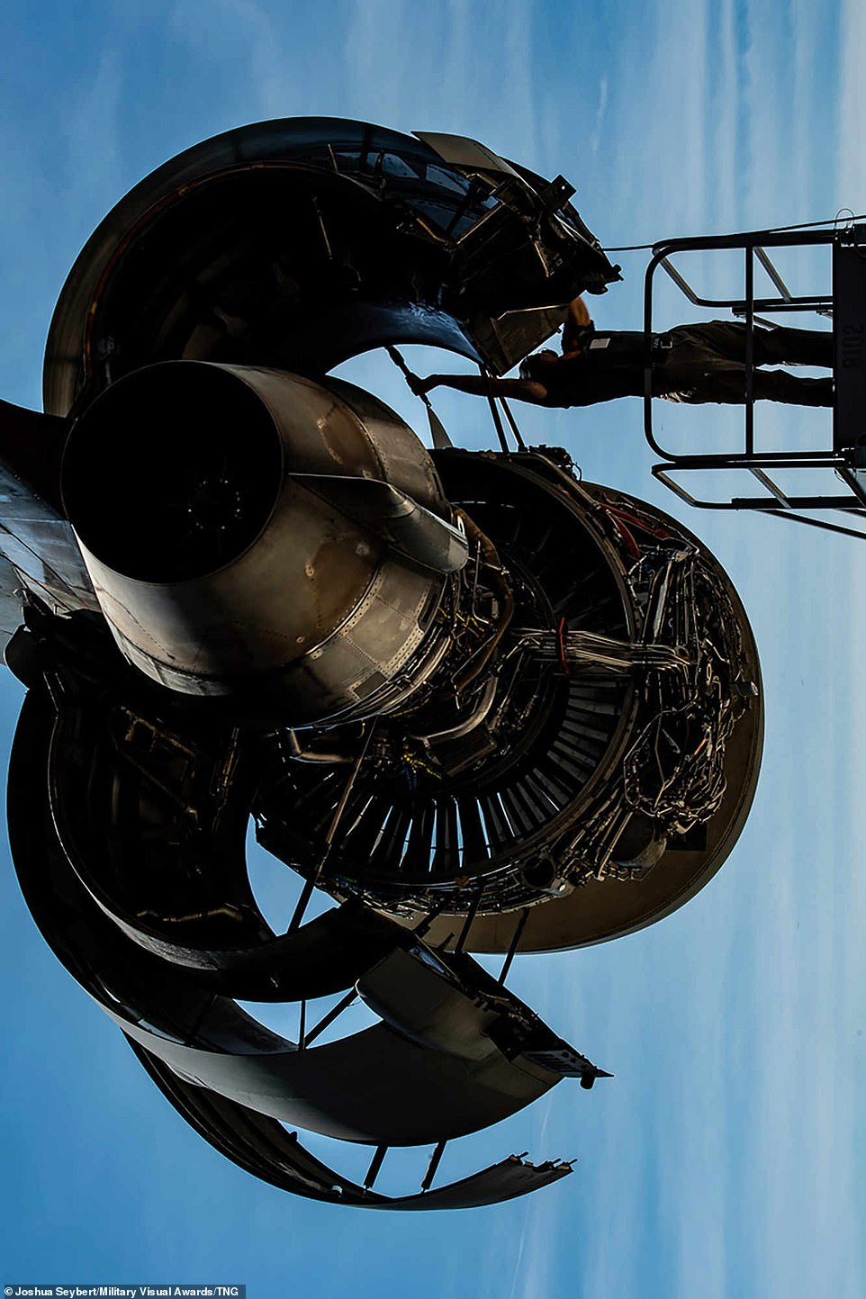 Staff Sgt. Samuel Peoples, 911th Maintenance Squadron aerospace propulsion technician, closes the thrust reverser fan duct on a C-17 Globemaster III engine at the Pittsburgh International Airport Air Reserve Station, Pennsylvania, on July 15, 2020