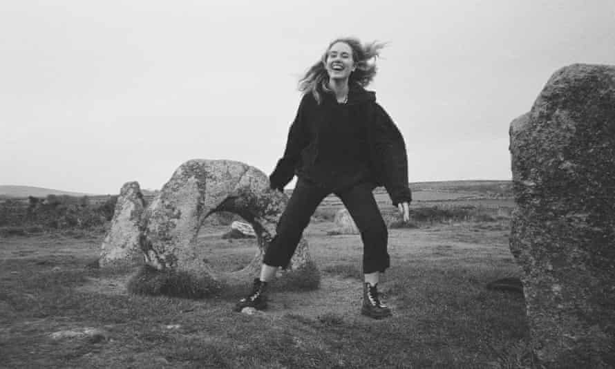 Writer Lamorna Ash at Men-an-Tol, a bronze age monument in west Cornwall