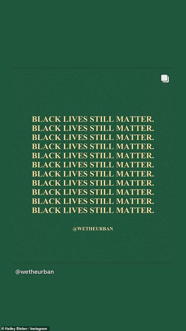 Hailey Bieber posted in her ongoing support of Black Lives Matter