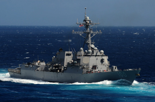 The Arleigh Burke-class guided-missile destroyer USS Kidd is underway in the Pacific Ocean. Kidd is part of the John C. Stennis Carrier Strike Group and is participating in a composite training unit exercise off the coast of Southern California.(Photo by: Petty Officer 3rd Class Crishanda K. McCall)