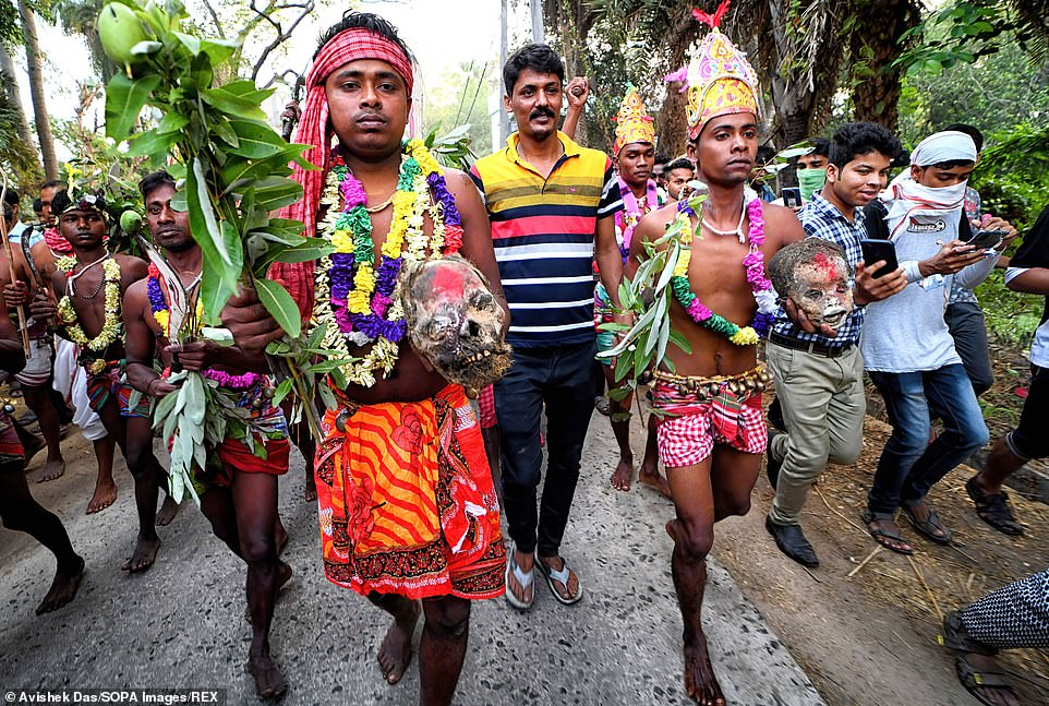 The 100-year-old tradition is said to take place on the last day of the Bengali Calendar, in the middle of April, where devotees worship dead bodies to satisfy Lord Shiva for better rain and harvest