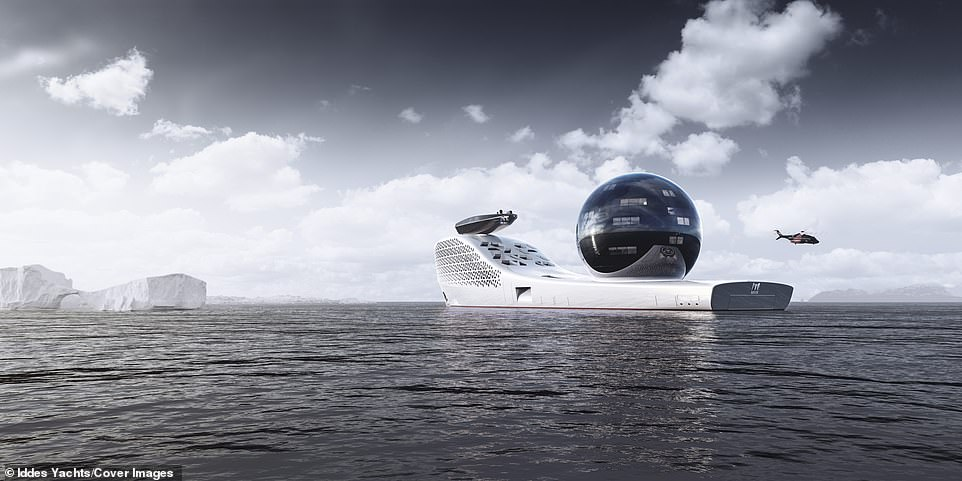 The Iddes Yacht vessel has been designed to 'unite science and exploration to confront Earth's greatest challenges,' according founder Salas Jefferson, who says it will cater for about 160 scientists at one time