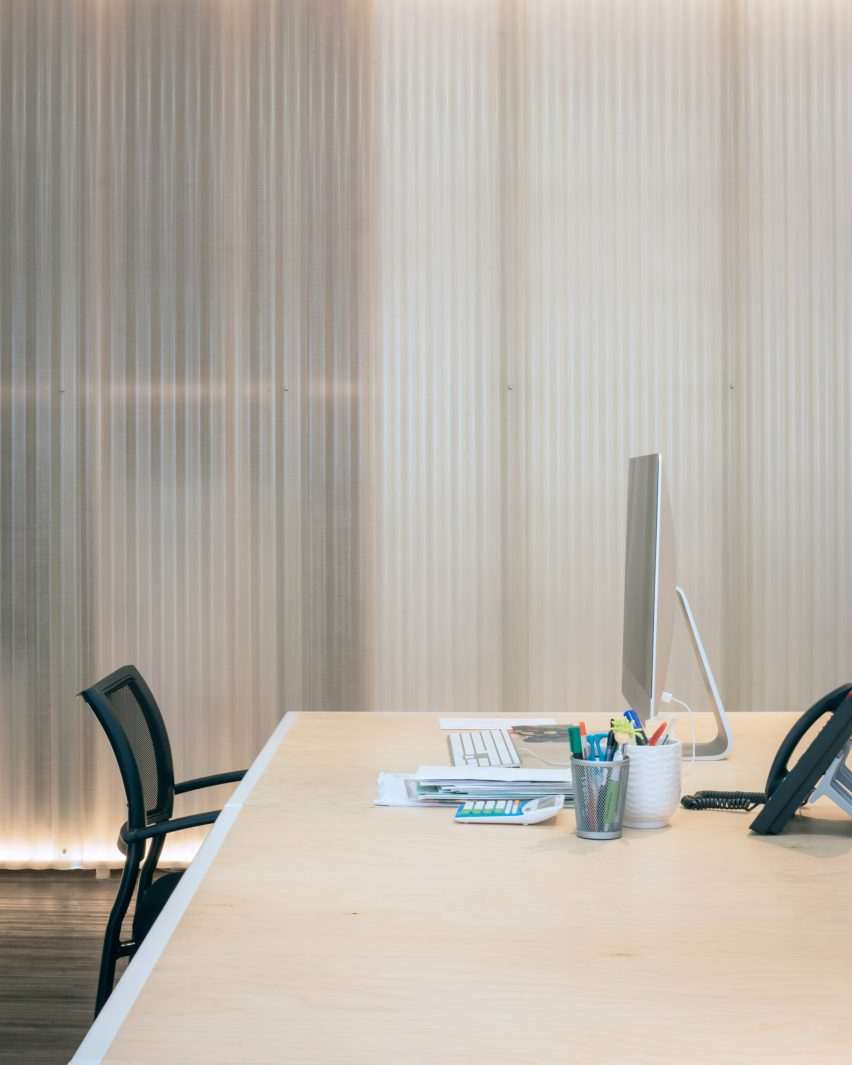 Translucent panelling in office
