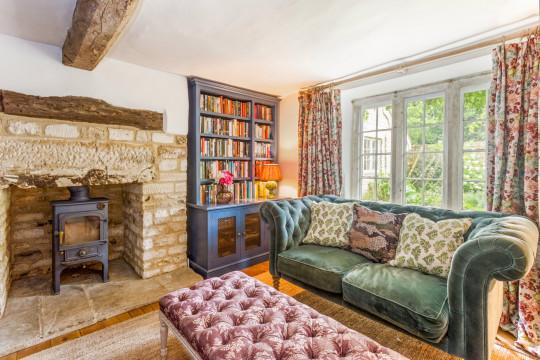 Turnstone House - living room with velvet sofa