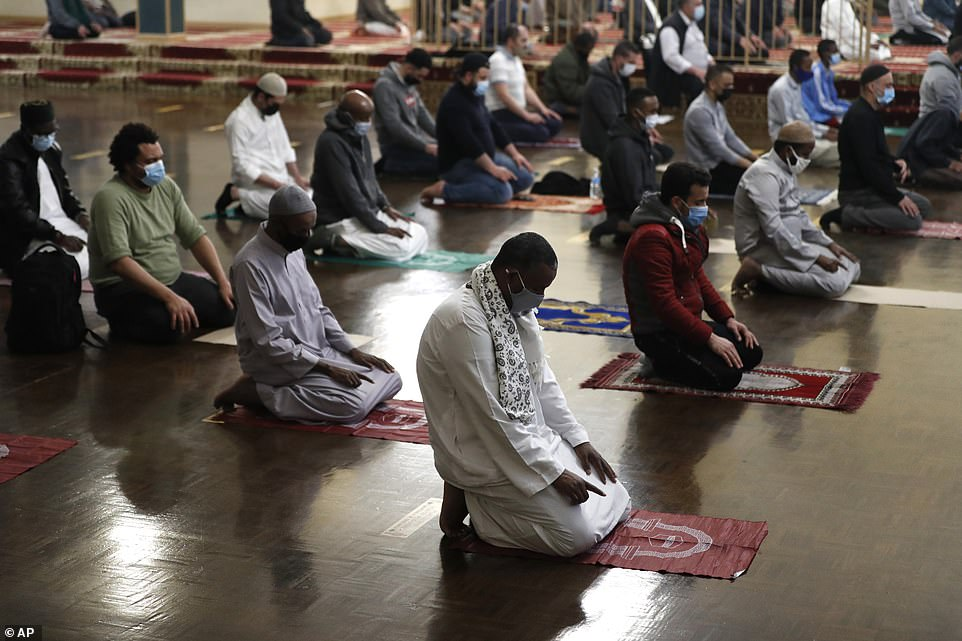 2021: Muslims perform the Tarawih prayer while practicing social distancing on the first evening of Ramadan on April 12, in Chicago