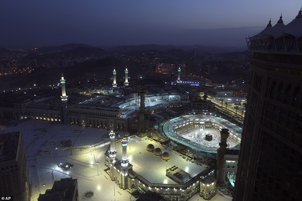 2021: An aerial shot shows socially distanced worshippers at the Great Mosque in Mecca during the first dawn prayers of the holy Islamic month of Ramadan