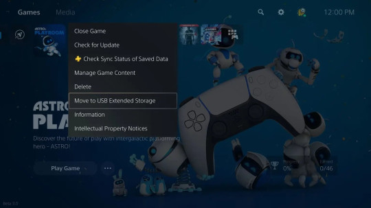 PS5 external USB device option