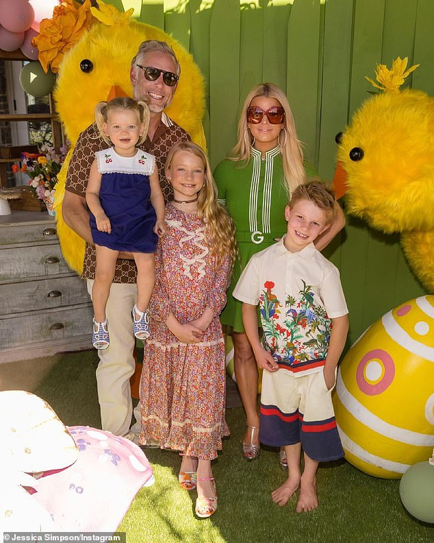 Easter family portrait:Simpson and her Yale-educated second husband Eric Johnson - who wed in 2014 after four years of dating - are also parents of eight-year-old daughter Maxwell and seven-year-old son Ace