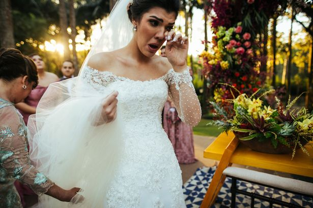 Bride crying in the altar